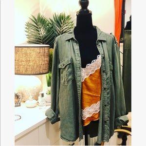 AEO Green Tencel Boyfriend Button Down Shirt